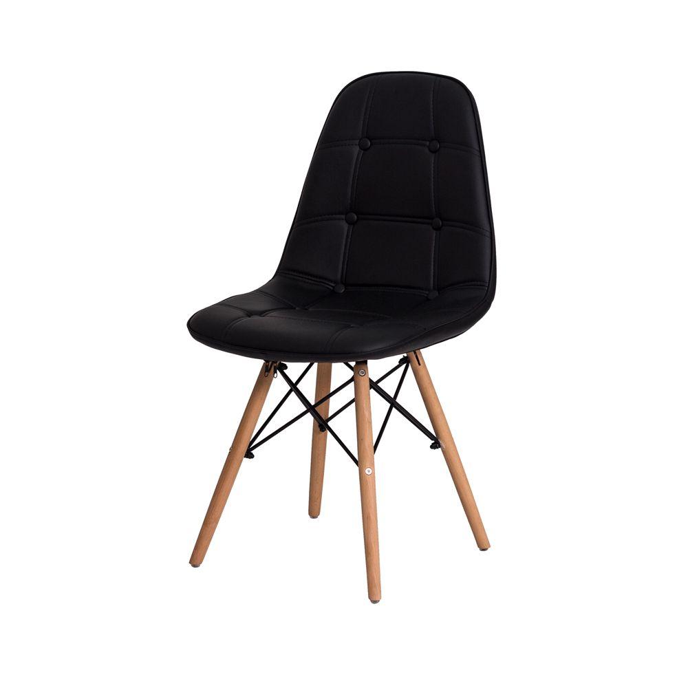 Cadeira Eiffel Botonê Eames DSW Preta Base Madeira