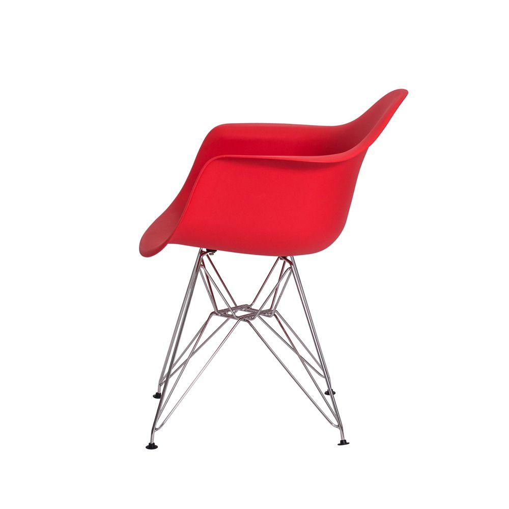 Cadeira Eiffel Eames c/ Braço Base Cromada Vermelha