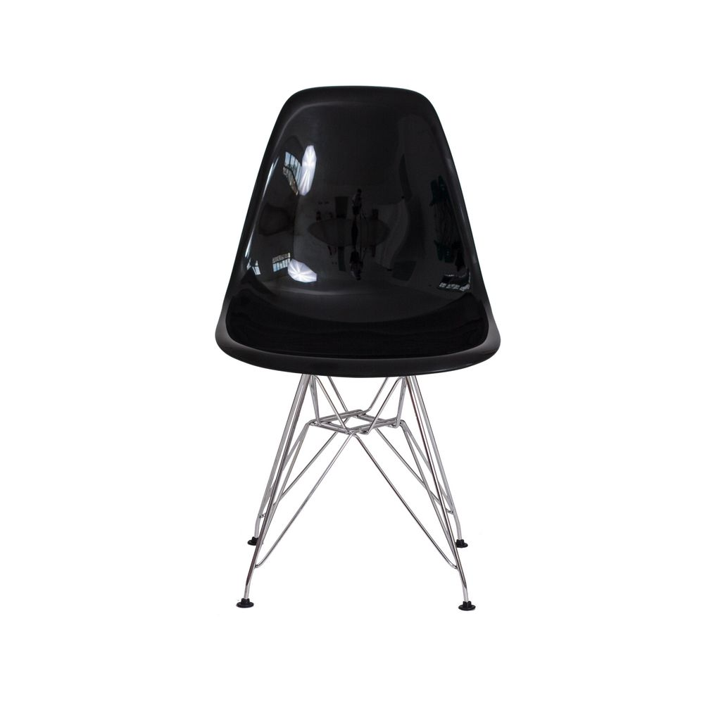Cadeira Eiffel Eames de ABS Base Cromada Preta