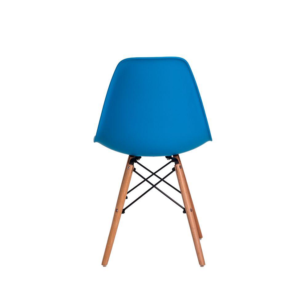 Cadeira Eiffel Eames DSW Azul Base Madeira