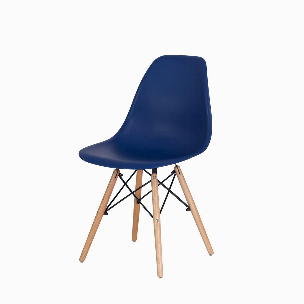 Cadeira Eiffel Eames DSW Azul Marinho Base Madeira