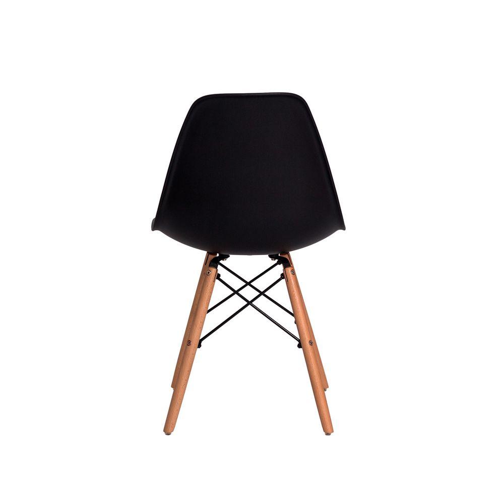 Cadeira Eiffel Eames DSW Preta Base Madeira