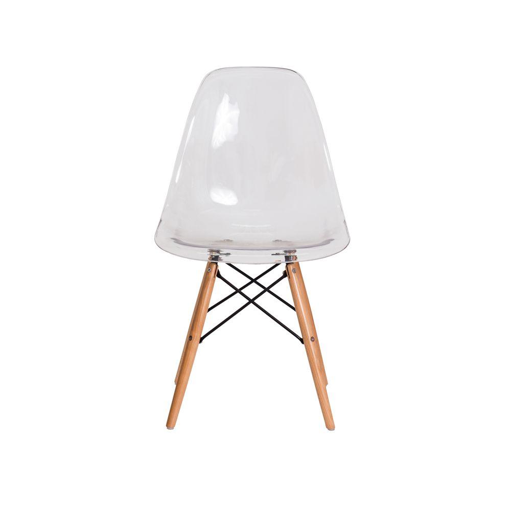 Cadeira Eiffel Eames DSW Transparente Base Madeira