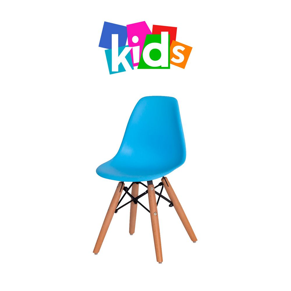 Cadeira Eiffel KIDS Azul Clara Base Madeira