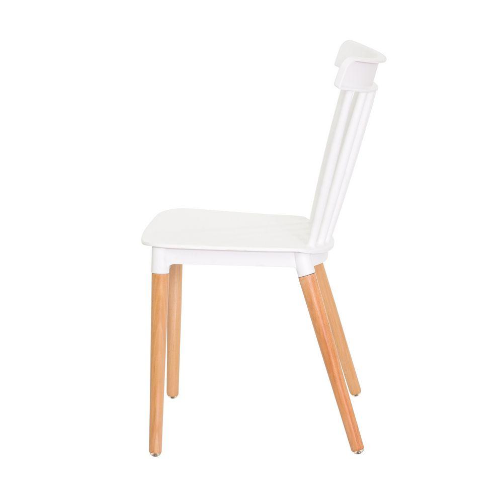 Cadeira Ellen Polipropileno Branca Base Madeira