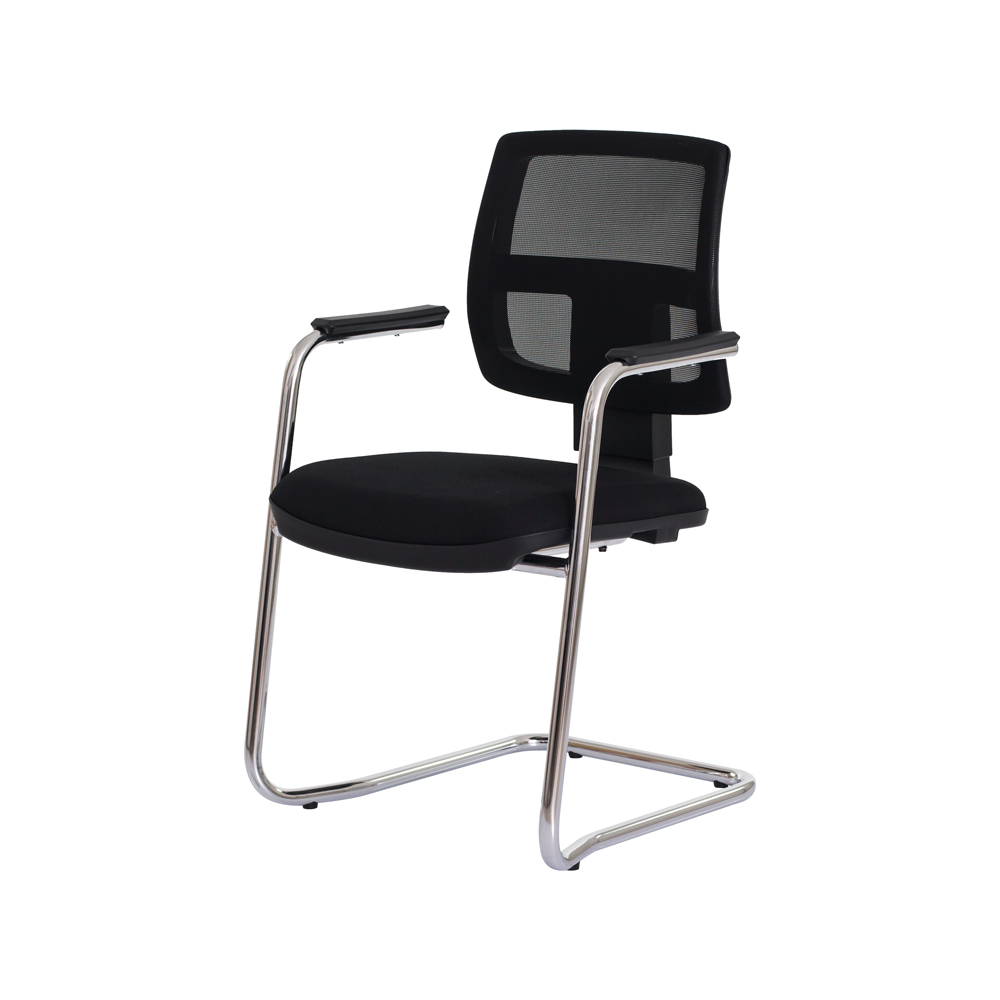 Cadeira Ergonômica Escritório Interlocutor Milan Fixa Preta Base Cromada