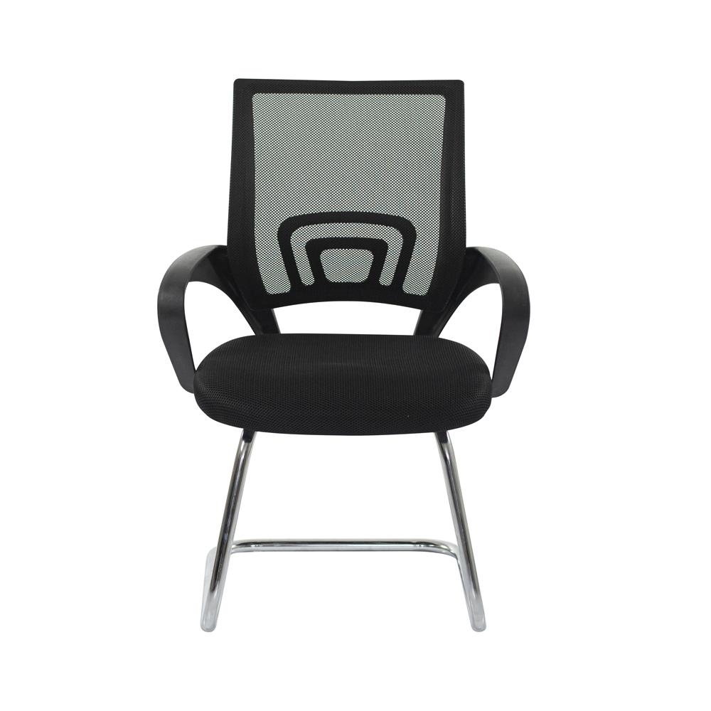 Cadeira Escritório Basic Diretor Fixa Tela Mesh Preta Base Cromada