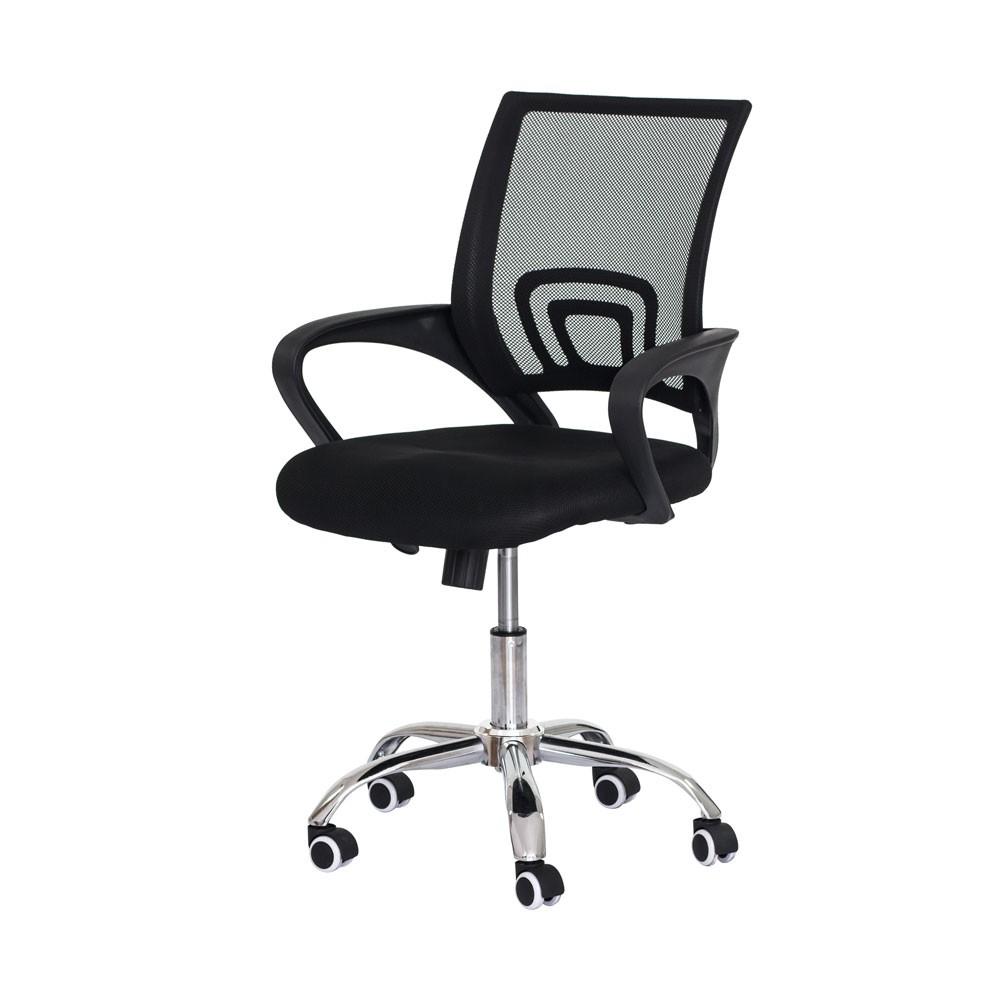 Cadeira Escritório Basic Diretor Tela Mesh Preta Base Giratória Cromada Altura Ajustável