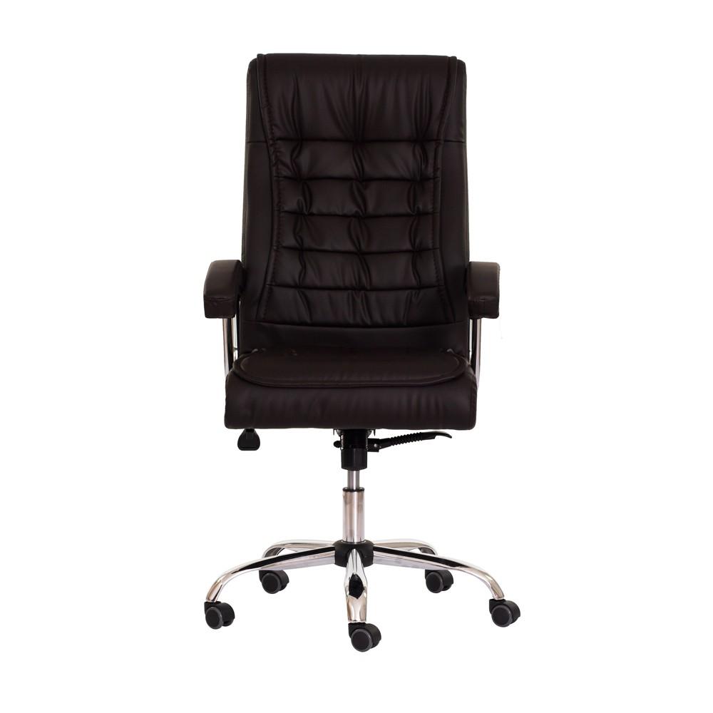 Cadeira Escritório BIG Presidente PU Marrom Base Giratória Cromada Altura Ajustável