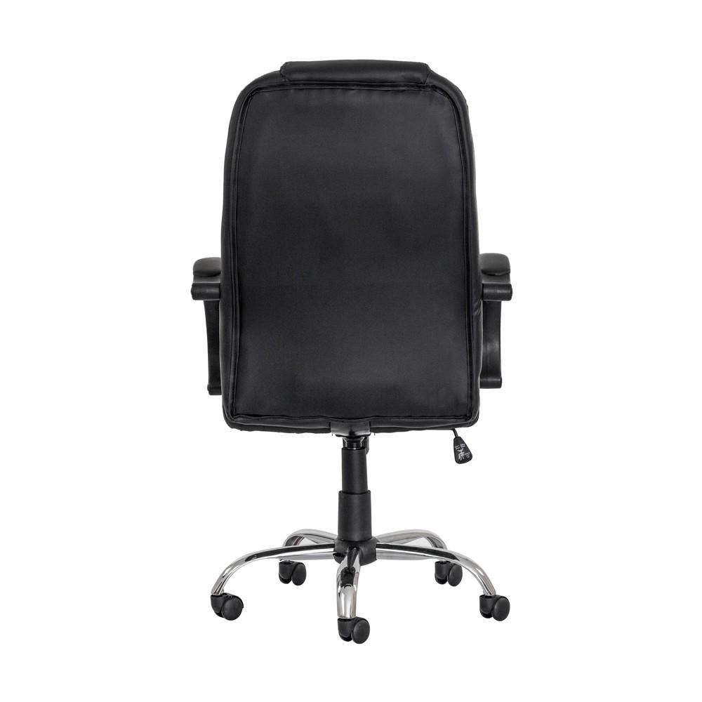 Cadeira Escritório Boss Presidente Preta Base Giratória Cromada Altura Ajustável