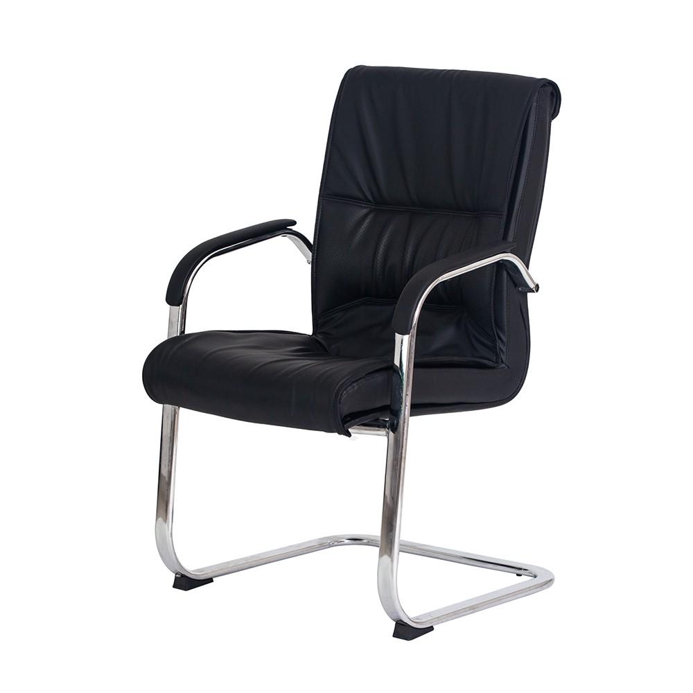 Cadeira Escritório Interlocutor Big Fixa Preta Base Cromada