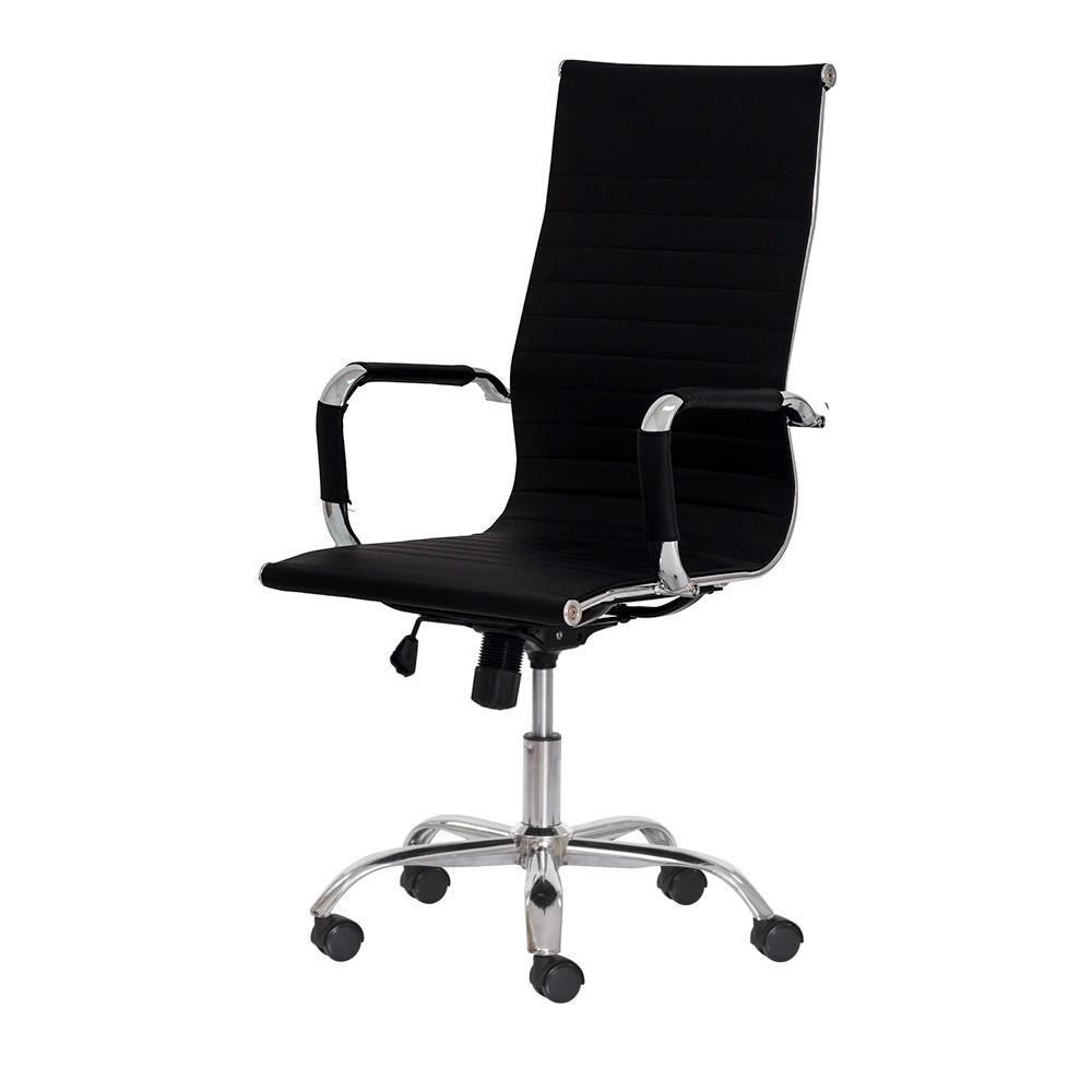 Cadeira Escritório Stripes Presidente PU Preta