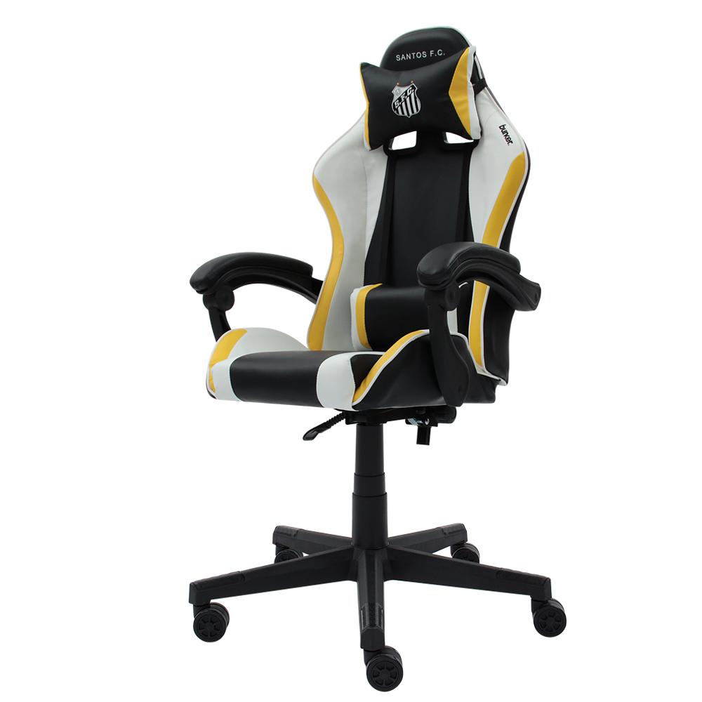 Cadeira Gamer Racer || Oficial - Santos F.C Reclinável Altura Ajustavel Função Relax