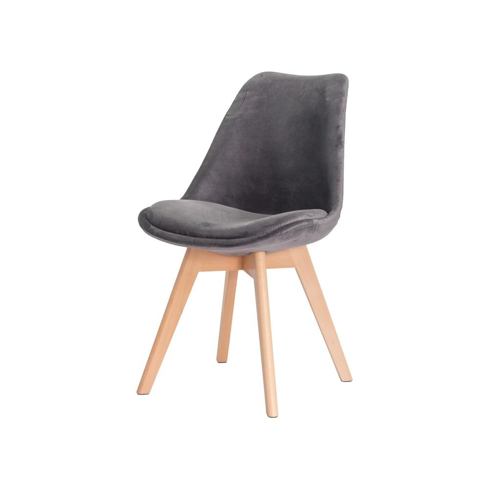 Cadeira Leda Saarinen Design Veludo Cinza