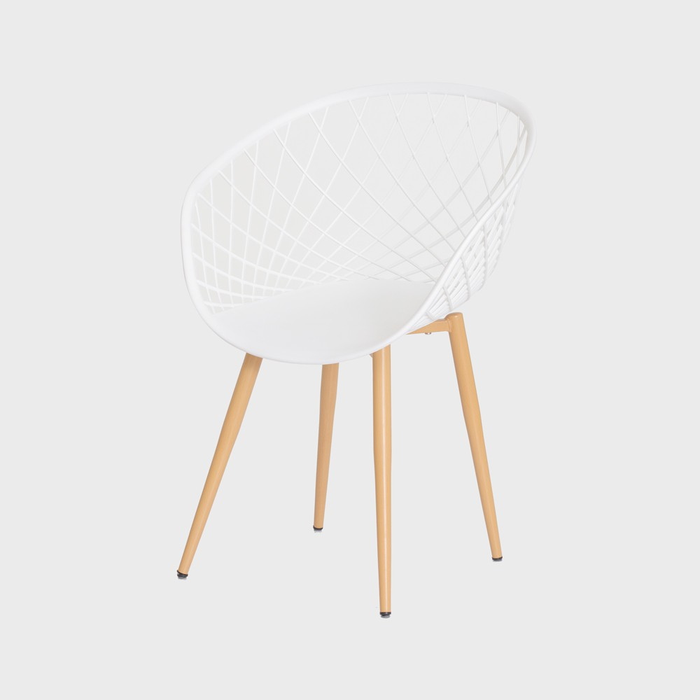 Cadeira Nova Web Branca Base Metal