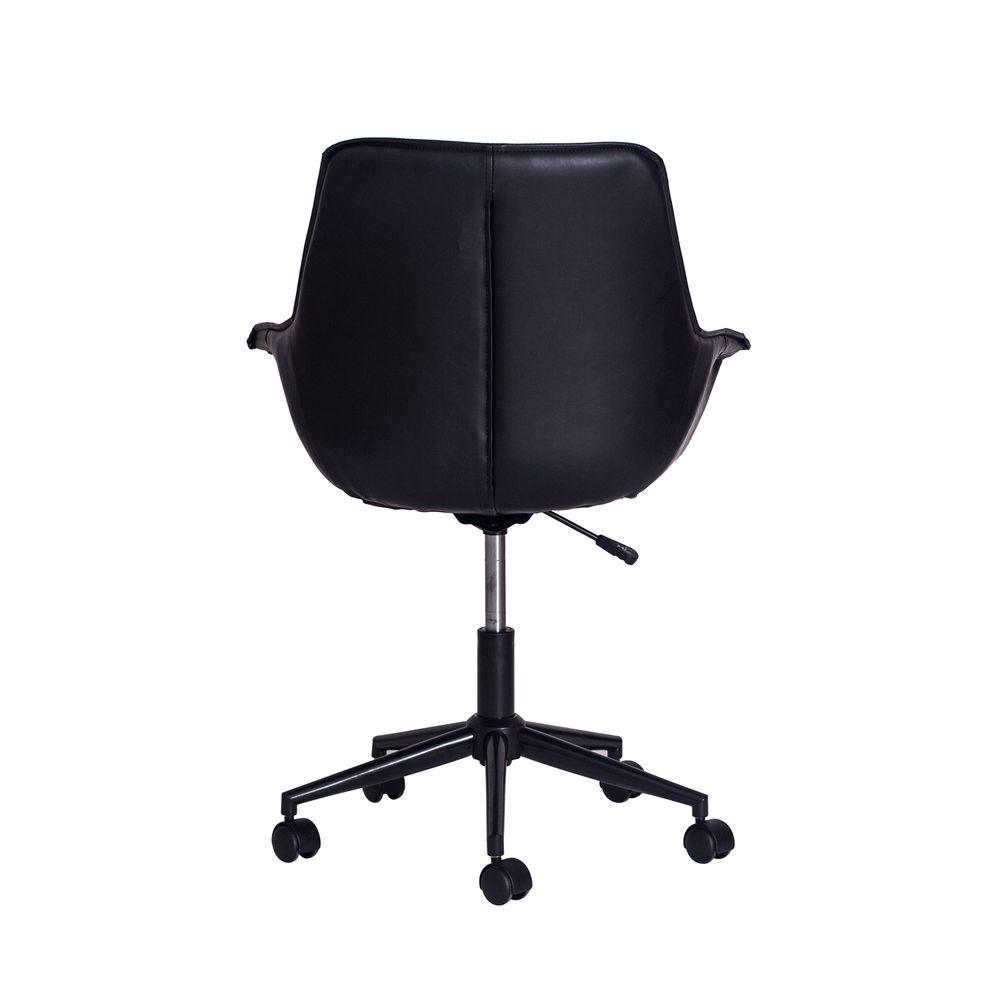 Cadeira Office Style Preta Base Black Metal