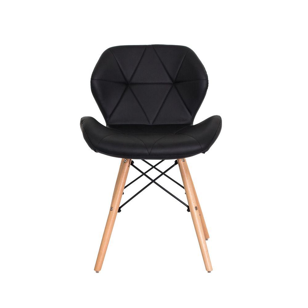 Cadeira Slim Preta Base Madeira