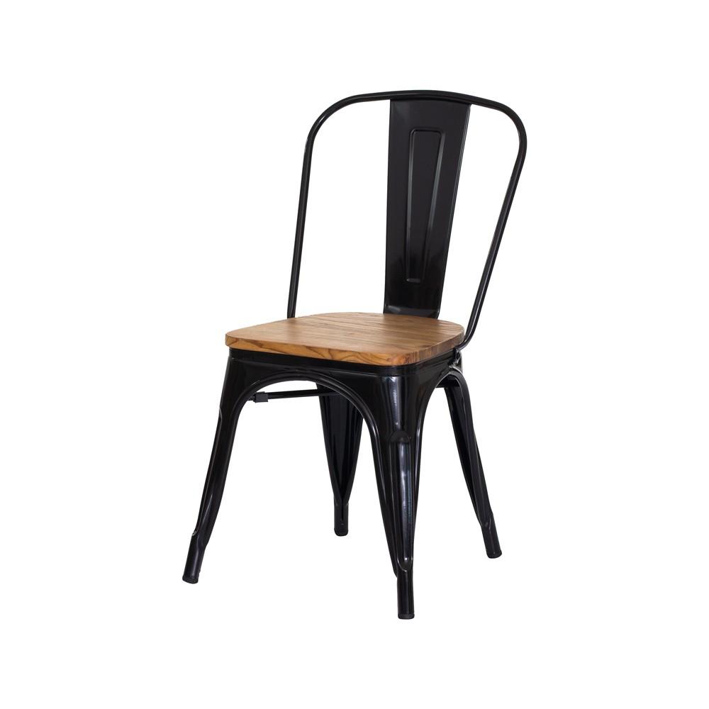 Cadeira Tolix Iron Assento Madeira Preto Brilhante Aço Industrial