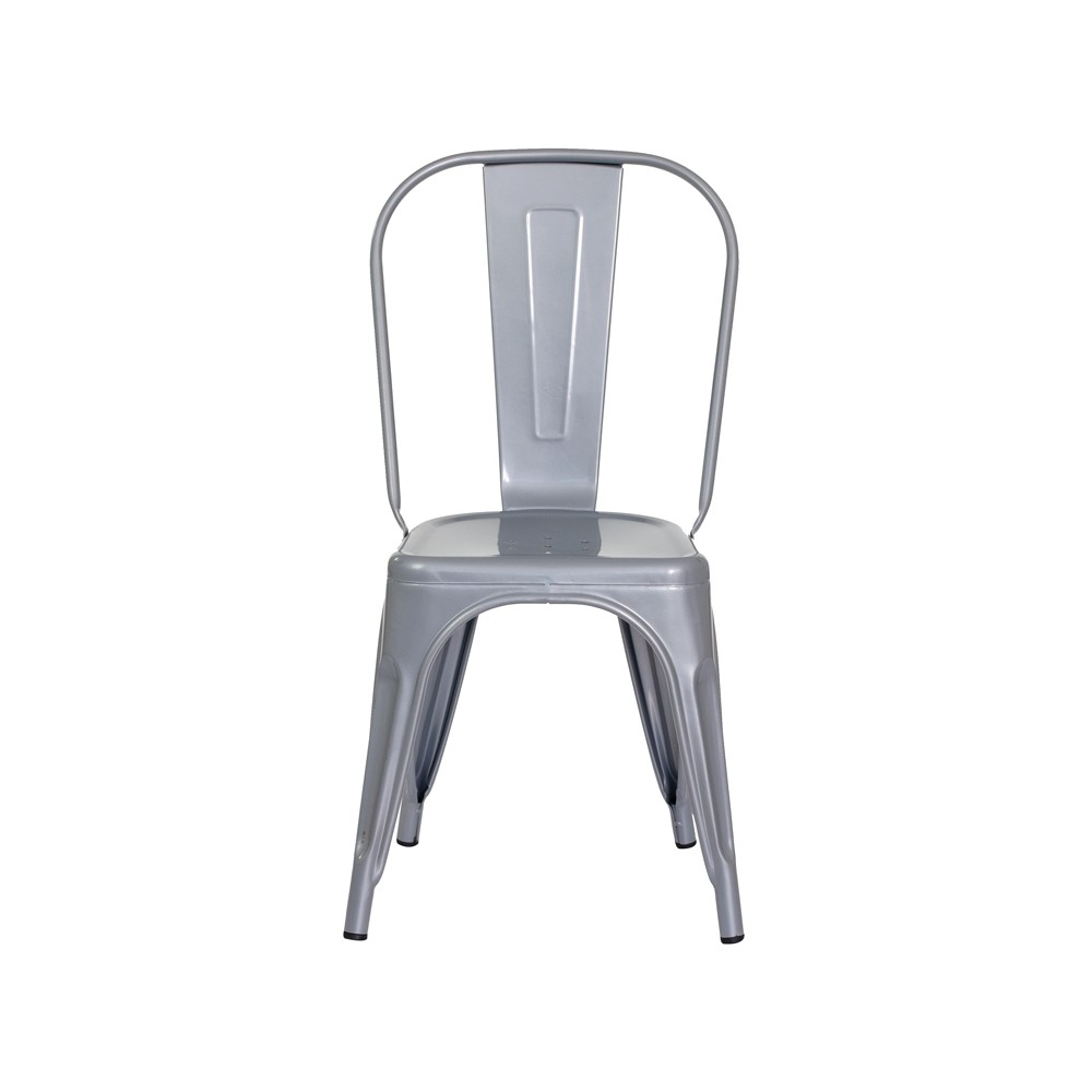 Cadeira Tolix Iron Design Cinza Brilhante Aço Industrial