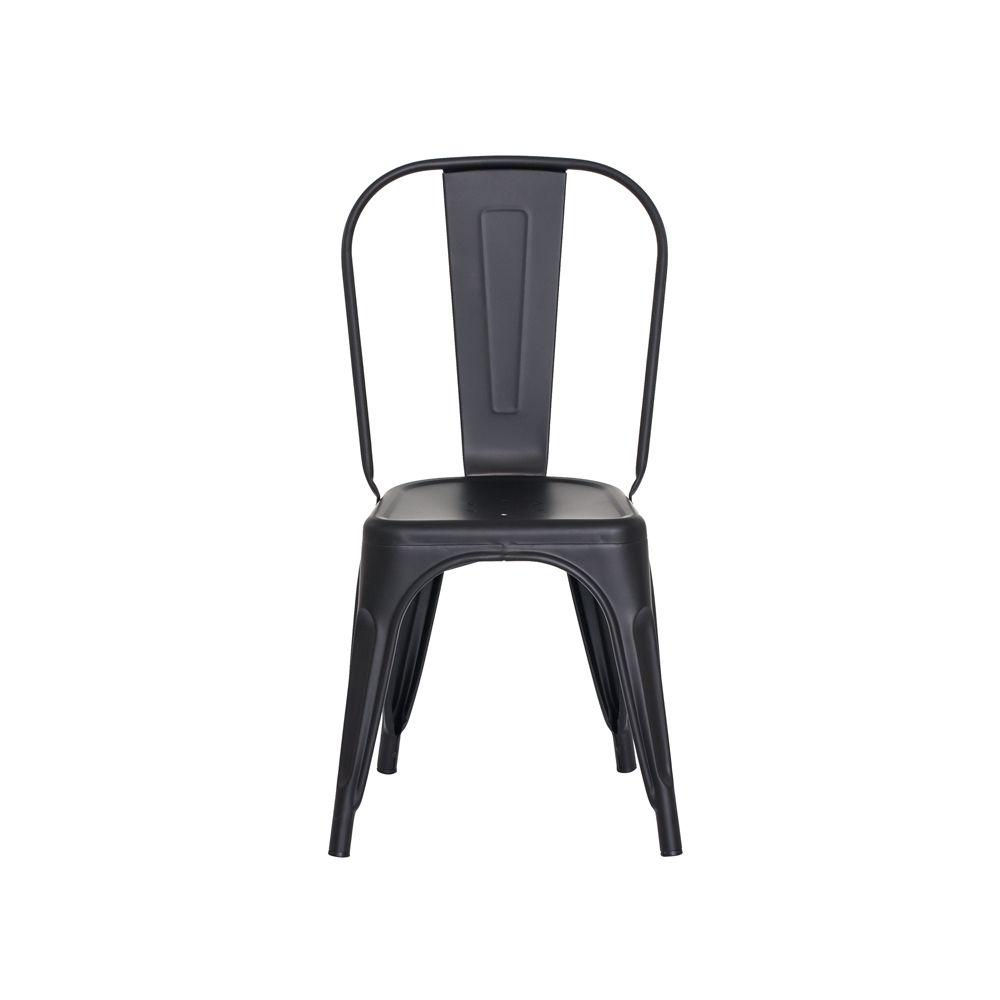 Cadeira Tolix Iron Design Preto Fosco Aço Industrial