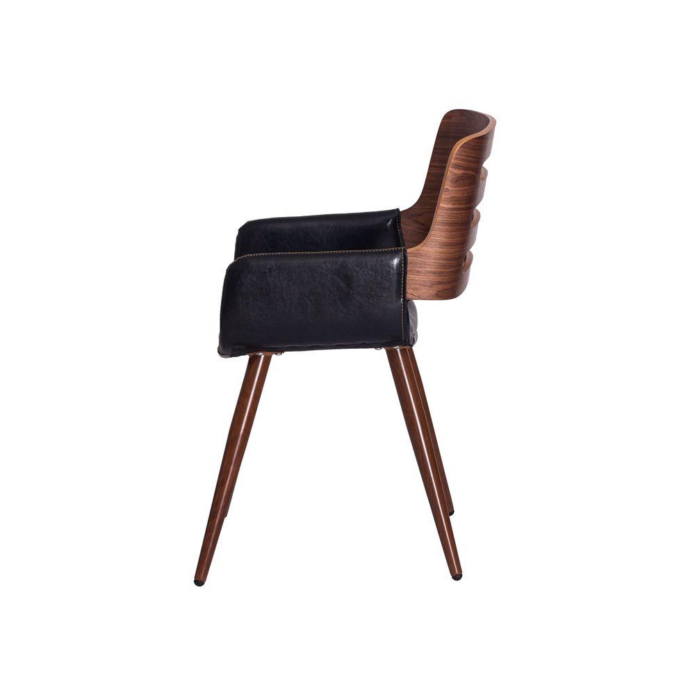 Cadeira Vini PU Preta Base Madeira