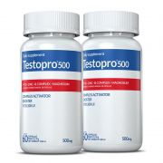 Testopro500® 02 potes c/60 cápsulas cada (vitaminas para homens)