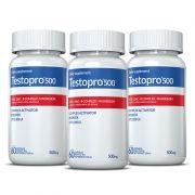 Testopro500® 03 potes c/60 cápsulas cada (vitaminas para homens)