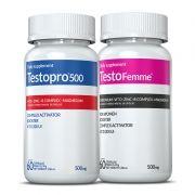 01 Testopro500® + 01 Testofemme® c/ 60 cápsulas cada (para ele e para ela)