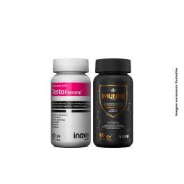 Kit Imunne Day Própolis com Vitaminas e Mineral + Testofemme Inove Nutrition 60 caps + Brinde Shorts Inove Nutrition + Coqueteleira