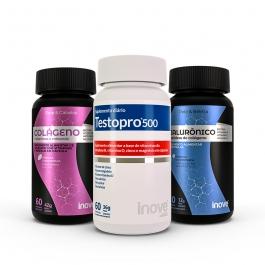 Kit 01 Ácido Hialurônico + Peptídeos de Colágeno 30 caps + 01 Colágeno Pele e Cabelo 60 caps + 01 Testopro500 60 caps - Inove Nutrition