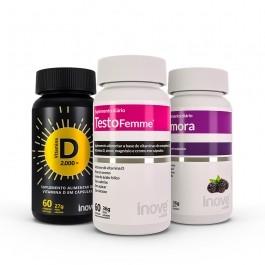 Kit 01 Amora Miura + 01 Testofemme + 01 Vitamina D Inove Nutrition Inove Nutrition
