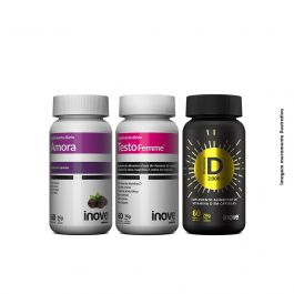 Kit 01 Amora Miura + 01 Testofemme + 01 Vitamina D Inove Nutrition + Brinde 01 Necessaire Inove Nutrition