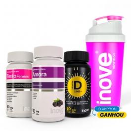 Kit Amora Miura + 01 Testofemme + 01 Vitamina D 2000 ui - Ganhe 1 Coqueteleira Inove Nutrition