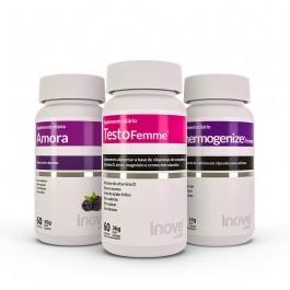 Kit 01 Amora Miura + 01 Thermogenize Femme + 01 Testofemme c/ 60 cápsulas cada - Inove Nutrition