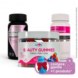 Kit 01 Beauty Gummies - 30 gomas + 01 Hair, Skin & Nails - 30 caps + 01 Testofemme - 60 caps - Compre & Ganhe + 1 Produto - Inove Nutrition