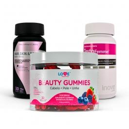 Kit 01 Beauty Gummies - 30 gomas + 01 Hair, Skin & Nails - 30 caps + 01 Testofemme - 60 caps - Inove Nutrition