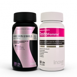 Kit 01 Hair, Skin & Nails - 30 caps + 01 Testofemme - 60 caps - Inove Nutrition