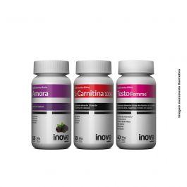 Kit  01 L-Carnitina + 01 Testofemme + 01 Amora Inove Nutrition  + Brinde 01 Necessaire Inove Nutrition