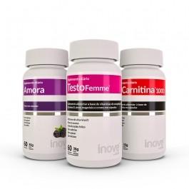 Kit  01 L-Carnitina 1000 + 01 Testofemme + 01 Amora Miura Inove Nutrition
