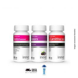 Kit  01 L-Carnitina + 01 Testofemme + 01 Amora Inove Nutrition  + Brinde Coqueteleira Inove Nutrition 600 ML