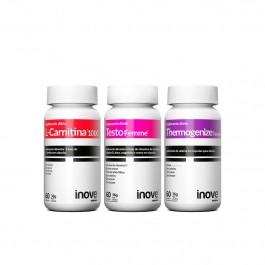 Kit 01 L-Carnitina + 01 Thermogenize Femme + 01 Testofemme Inove Nutrition c/ 60 cápsulas cada + Brinde