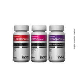 Kit 01 L-Carnitina + 01 Thermogenize Femme + 01 Testofemme Inove Nutrition c/ 60 cápsulas cada + Brinde Camiseta Inove Nutrition