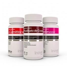 Kit 01 L-Carnitina 1000 + 01 Picolinato de Cromo + 01 Testofemme - c/ 60 caps cada - Inove Nutrition