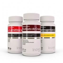 Kit 01 L-Carnitina 1000 + 01 Picolinato de Cromo + 01 Thermogenize 420 - c/ 60 caps cada - Inove Nutrition
