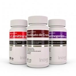 Kit 01 L-Carnitina 1000 + 01 Picolinato de Cromo + Thermogenize Femme - c/ 60 caps cada - Inove Nutrition