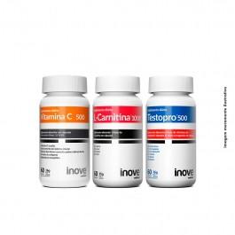 Kit 01 L-Carnitina 60 caps + 01 Testopro 500 60 caps + 01 Vitamina C 500 caps + Brinde 01 Camiseta Inove Nutrition