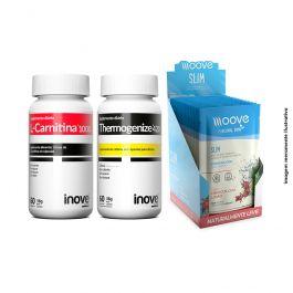 Kit 01 L-Carnitina 60 cápsulas + 01 Thermogenize 420 60 cápsulas + 01 Display Moove Slim Hibiscus com Limão  c/ 12 sachês + Brinde Coqueteleira Inove Nutrition