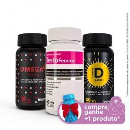 Kit 01 Omega 3 1000mg + Vitamina D 2.000 ui + Testofemme c/60 caps cada - Compre & Ganhe + 1 Produto - Inove Nutrition