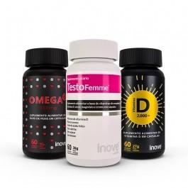 Kit 01 omega 3 1000mg + Vitamina D 2.000 ui + Testofemme c/60 caps cada - Inove Nutrition