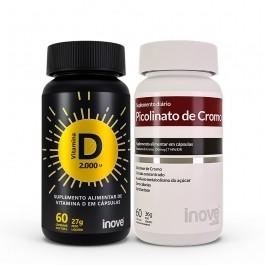 Kit 01 Picolinato de Cromo + 01 Vitamina D 2000 ui - c/60 caps cada - Inove Nutrition